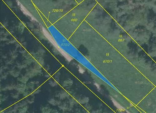 Prodej pozemku o výměře 250m2, p.č. 670/2 (trvalý travní porost), nacházející se v okrese Mladá Boleslav, k.ú. Horní Bukovina