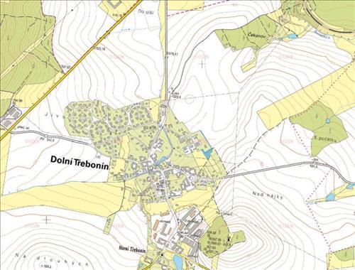Prodej 1/2 stavebního pozemku o celkové výměře 2.453m2, veden jako orná půda, k.ú. Dolní Třebonín, obec Dolní Třebonín, okres Če