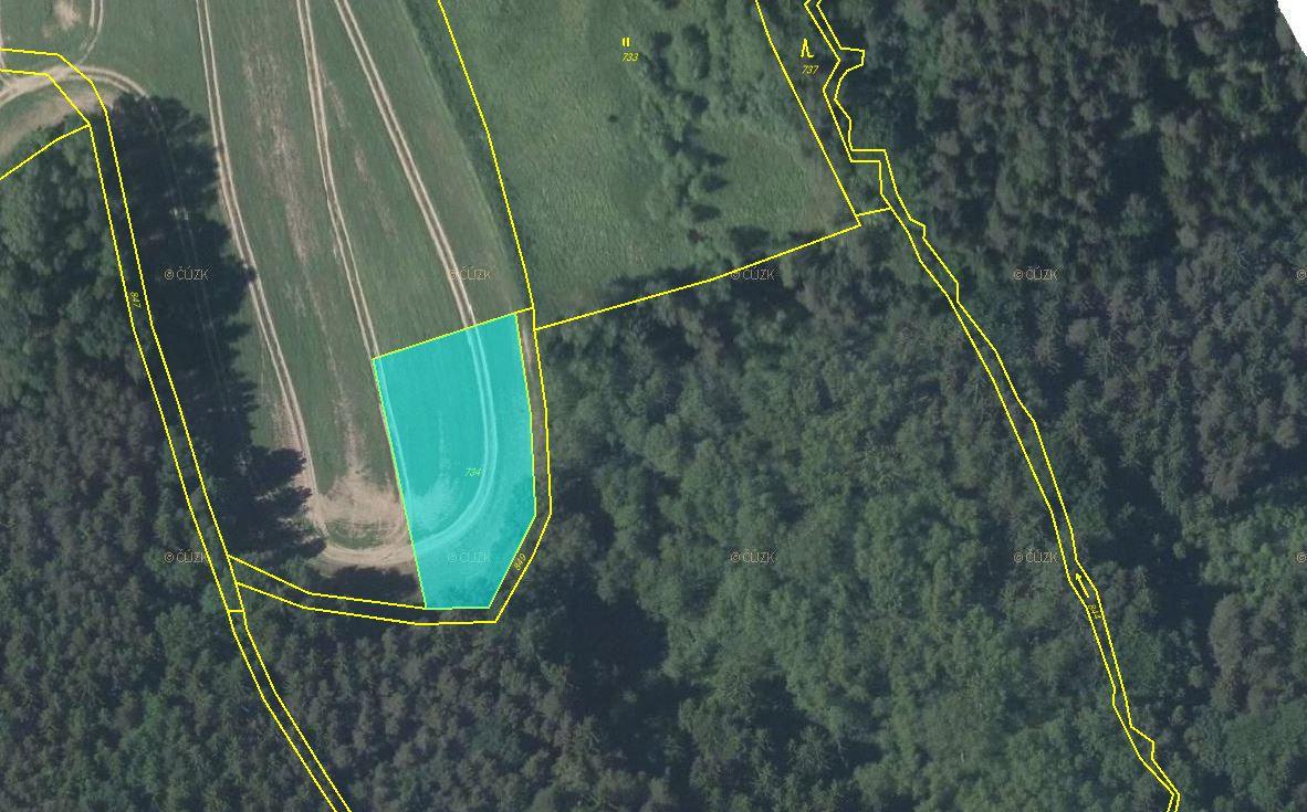 Pozemek 1.966m2, p.č. 734 - orná půda, k.ú. Háj u Habartic, Habartice, okres Liberec